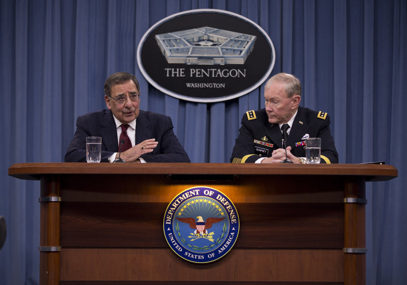 "Defense Secretary Leon Panetta, with Joint Chiefs Chairman Gen. Martin Dempsey, tells a news conference a week ago that budget uncertainty will ""harm our military readiness."""
