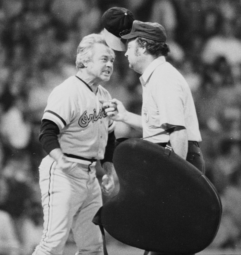 Baltimore Orioles' manager Earl Weaver's hat flies as he protests a call in a 1974 game with the Chicago White Sox.