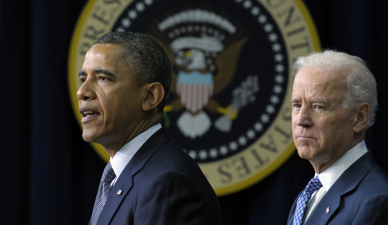 President Obama, accompanied by Vice President Joe Biden, announces proposals to reduce gun violence on Jan. 16.