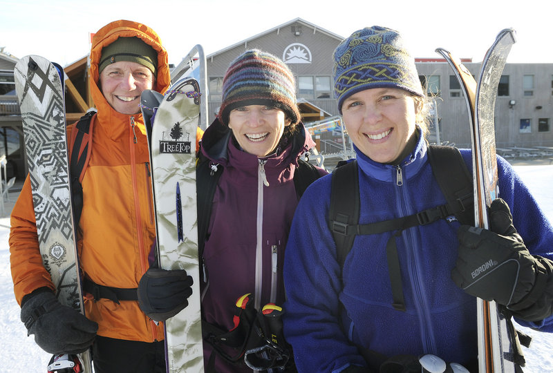 The Sunday River summit again is beckoning Bob Harkins, Elizabeth Ormiston and Callie Pecunies, who are among a minority of alpine skiers who climb the slopes rather than ride the lifts.