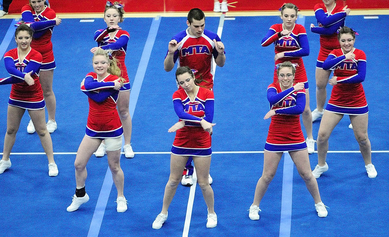 The Mt. Ararat girls compete during the Eastern Maine cheerleading competition at the Augusta Civic Center. The top six teams in each class qualified for the state championships.