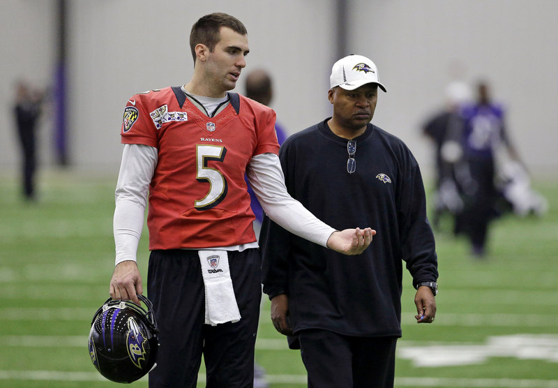 Joe Flacco, left, could be commanding a huge contract if he's able to lead the Baltimore Ravens to a victory in the Super Bowl against the San Francisco 49ers.