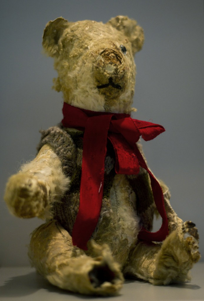 """Holocaust survivor Stella Knobel's teddy bear is shown in the """"Gathering the Fragments"""" exhibit at Yad Vashem, Israel's Holocaust memorial and museum, in Jerusalem on Sunday."""