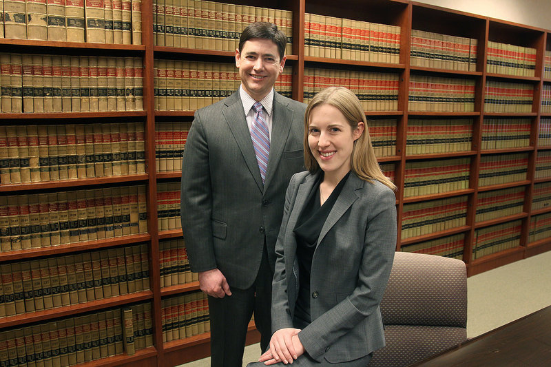 Randi Winter, an associate at Felhaber, Larson, Fenlon and Vogt, is part of a program run by the law firm and Don Heeman, left, to give young lawyers court experience at a time when many cases are settled, not litigated.