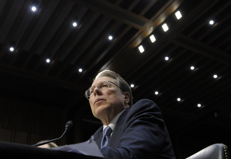 NRA leader Wayne LaPierre testifies at Wednesday's hearing on Capitol Hill.