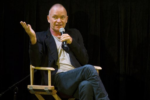 In this Monday, Nov. 14, 2011, photo, Sting addresses an audience as he attends the launch of his new