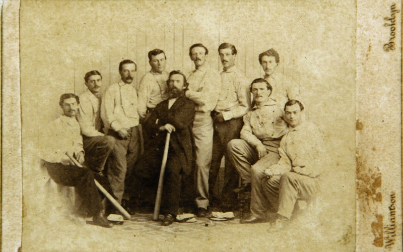 This 1865 card of the Brooklyn Atlantics was found by a picker in Baileyville and will be auctioned off at the Saco River Auction Company on Feb. 6, 2013.