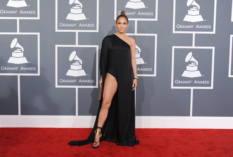 Jennifer Lopez arrives at the Grammys on Sunday.