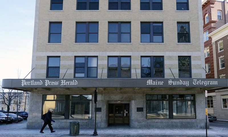 The old Portland Press Herald building at 390 Congress St. in Portland on Thursday, Feb. 7, 2013. A boutique hotel planned for the former Portland Press Herald building may end up having a newspaper theme.