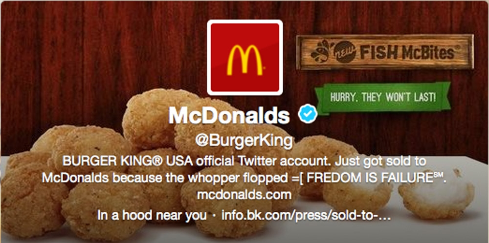 The Associated Press This frame grab taken Monday shows what appears to be Burger King's Twitter account after it was hacked. Starting just after noon, the company's Twitter picture was changed to a McDonald's logo, and the account tweeted that it had been sold to rival McDonald's.