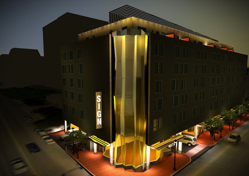 This artist rendering depicts the Hyatt Place Portland hotel, a seven-story hotel at Fore and Union streets that will also feature 1,000 square feet of ground-floor retail space.