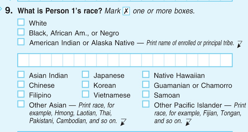 In this photograph of a sample 2010 US Census form, obtained by The Associated Press shows question 9: