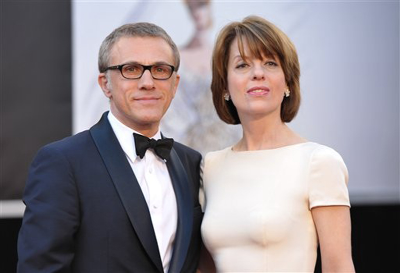 """Actor Christoph Waltz and his wife, Judith Holste. Waltz won the Oscar for best supporting actor for his role in """"Django Unchained."""""""