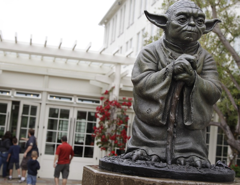This Aug. 2, 2011 file photo shows a life-sized replica of Yoda, George Lucas' master of the Force, at Lucasfilm Ltd. production studios in San Francisco. Stuart Freeborn, a pioneering movie makeup artist behind creatures such as Yoda and Chewbacca in the