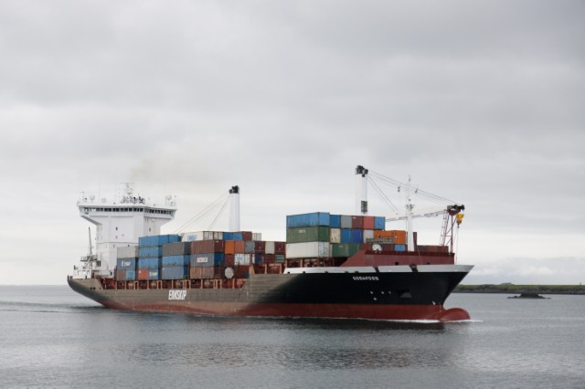 """The """"Goðafoss,"""" one of the ships in Eimskip's shipping fleet. On Tuesday, Gov. Paul LePage announced that the Icelandic shipping company had signed a contract with the Maine Port Authority to begin operating out of the International Marine Terminal in Portland."""