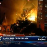 In this image taken from video from KCTV, firefighters battle a massive fire at Country Club Plaza in Kansas City, Mo. Tuesday, Feb. 19, 2013. (AP Photo/KCTV)