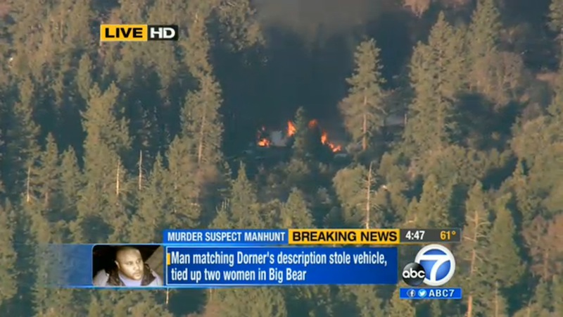 In this image taken from video provided by KABC-TV, the cabin in Big Bear, Calif. where ex-Los Angeles police officer Christopher Dorner died is in flames Tuesday, Feb. 12, 2013. (AP Photo/KABC-TV)