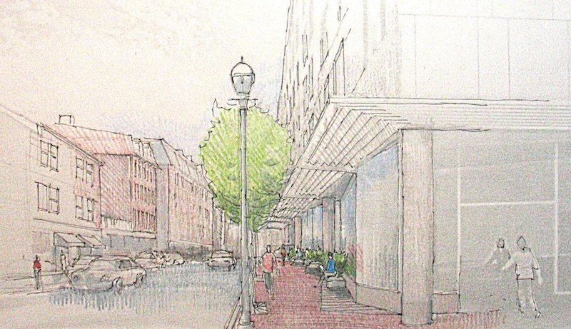 This artist rendering depicts a pedestrian view on Fore Street of the Hyatt Place Portland hotel, a coming seven-story hotel at Fore and Union streets.