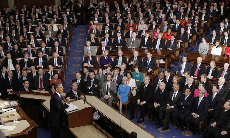 President Barack Obama gives his State of the Union address during a joint session of Congress on Capitol Hill in Washington, Tuesday Feb. 12, 2013. (AP Photo/J. Scott Applewhite) US Capitol