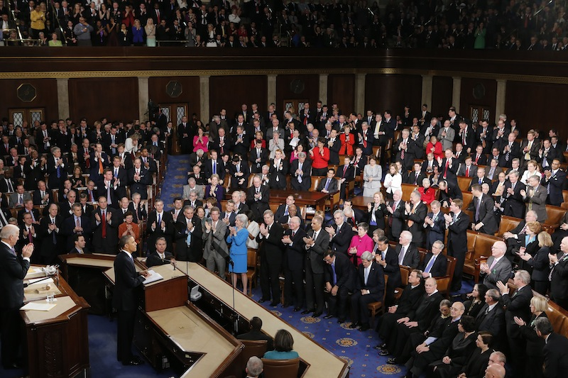 President Barack Obama is applauded as he gives his State of the Union address during a joint session of Congress on Capitol Hill in Washington, Tuesday Feb. 12, 2013. (AP Photo/J. Scott Applewhite) US Capitol