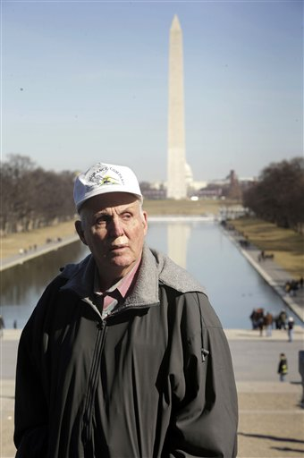 Indiana farmer Vernon Hugh Bowman, 75, visits the Lincoln Memorial in Washington on Monday.
