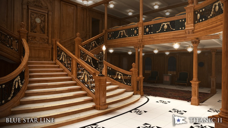 In this rendering provided by Blue Star Line, the grand staircase on the Titanic II is shown. The replica ship, which Australian billionaire Clive Palmer is planning to build in China, is scheduled to sail in 2016. Palmer said his ambitious plans to launch a copy of the Titanic and sail her across the Atlantic would be a tribute to those who built and backed the original. (AP Photo/Blue Star Line)