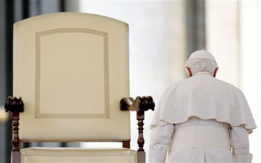 In this June 16, 2010, photo, Pope Benedict XVI leaves at the end of his weekly general audience in St. Peter's Square.