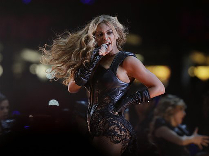 Beyonce performs during the halftime show of Super Bowl XLVII Sunday in New Orleans.