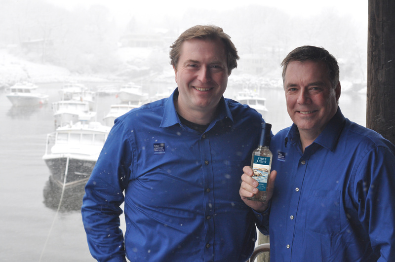 Dan Ford, left, and John Sygowski hope to have their Blue Current Brewery open for business by April or May. Their first offering will be called First Light, in honor of Maine.