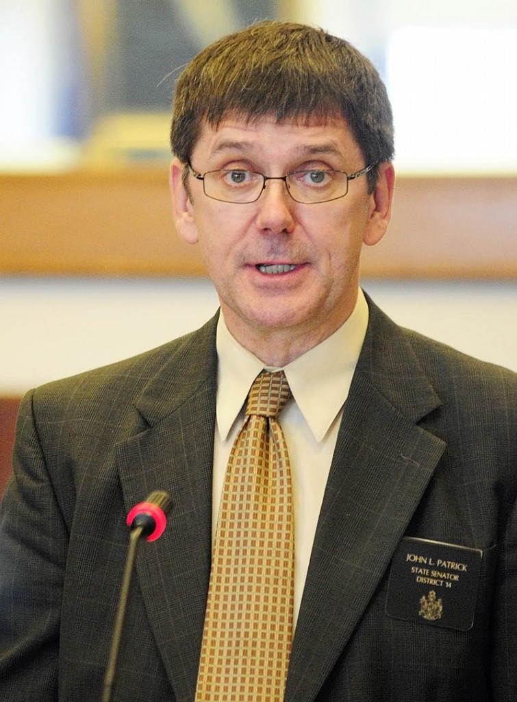 State Sen. John Patrick introduces L.D. 236, An Act To Protect the Privacy of Citizens from Domestic Unmanned Aerial Vehicle Use, before the Legislature's Judiciary Committee on Tuesday at the State House in Augusta.