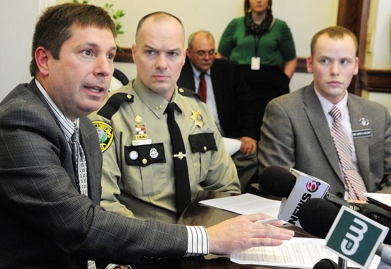 Maine House Minority Leader Kenneth Fredette, R-Newport, Kennebec County Sheriff Randall Liberty and Rep. Corey Wilson, R-Augusta, were part of a news conference about concealed weapons permits on Thursday at the State House in Augusta. Wilson has submitted a bill that would remove public access to the names of holders of concealed weapons permits.