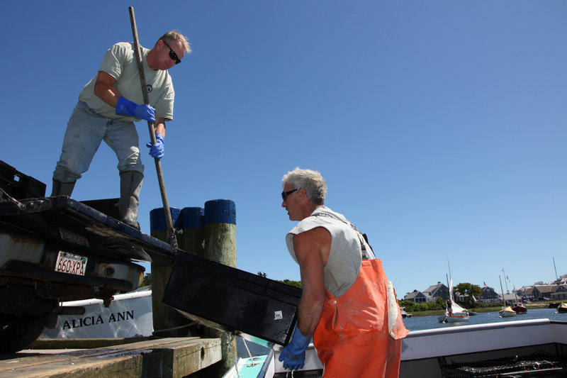 "In this 2011 file photo, commercial fishermen unload containers of conch in Harwich, Mass. Lawmakers from Maine and two other states are urging federal regulators to ""exercise all authority under the law"" to help the New England groundfishing fleet weather severe catch limits that many fear could decimate the industry."