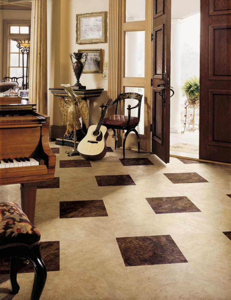 Modern luxury vinyl includes wood- and stone-look products with colors and textures good enough to fool the eye.