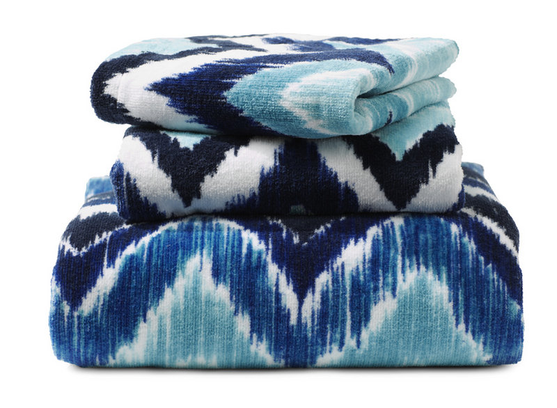 Towels from HomeGoods in various shades of blue.