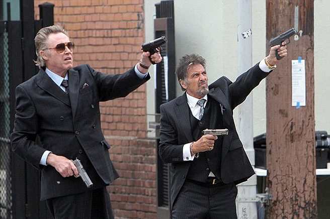 "Christopher Walken, left, and Al Pacino run afoul of a grudge-toting mob boss in ""Stand Up Guys."""