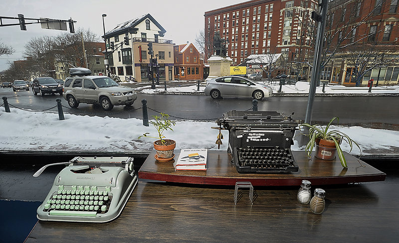 The view at LFK, a tapas bar where typewriters are respected and loved, at State and Pine streets in Portland.