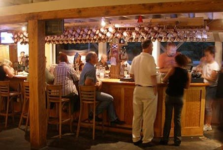 The bar at the Montsweag Roadhouse is a popular gathering spot featuring 14 taps and a wine list of about 20 bottles.