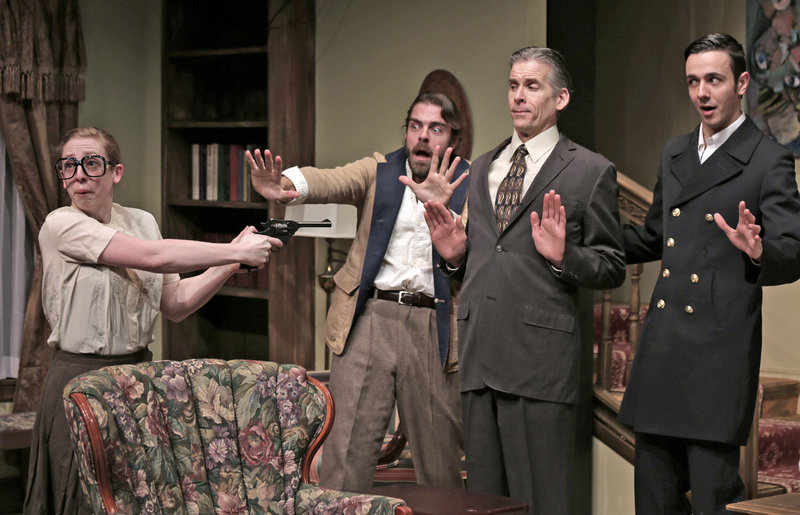 "Kat Moraros, Matthew Delamater, Paul Haley and Benjamin Row in a scene from Good Theater's production of ""Death by Design,"" a comedy with murder, by Rob Urbinati, directed by Brian P. Allen, continuing through Feb. 24 at the St. Lawrence Arts Center in Portland."