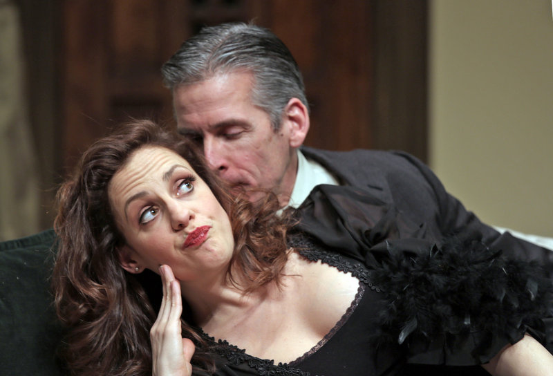 """Abigail Killeen and Paul Haley in a scene from Good Theater's production of """"Death by Design,"""" a """"comedy with murder"""" continuing through Feb. 24 at the St. Lawrence Arts Center in Portland."""