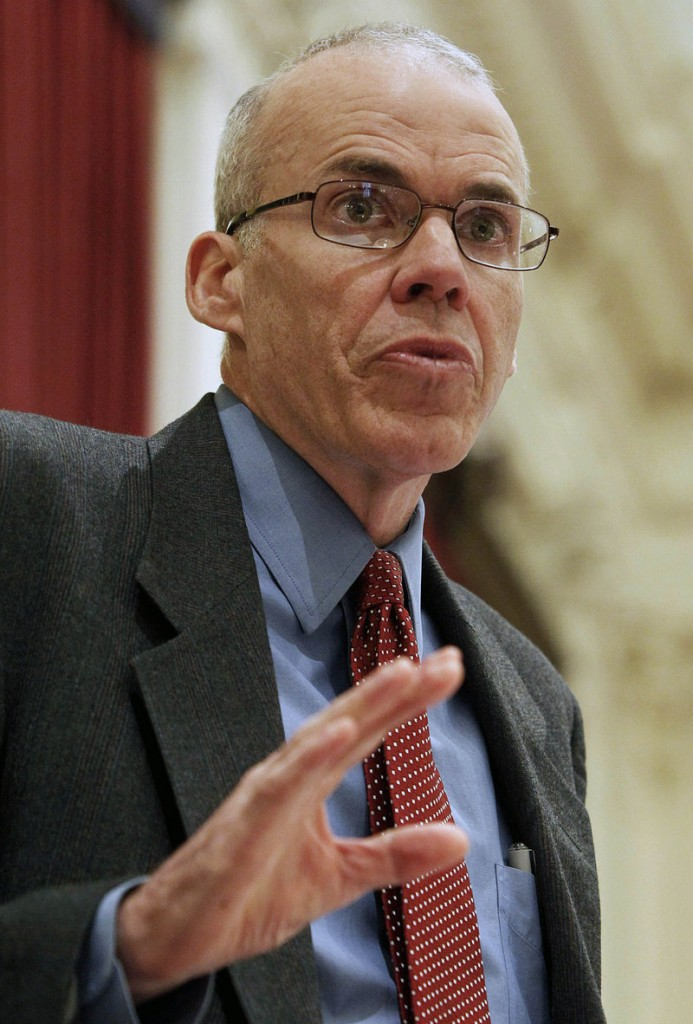 Environmental activist Bill McKibben speaks to the Vermont Legislature last week in Montpelier. The author's speaking engagement at the State Theatre in November helped build interest in the Jan. 26 tar-sands protest in Portland.