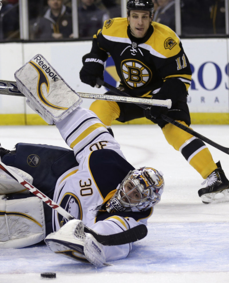 Sabres goaltender Ryan Miller stretches to make a save while Boston center Gregory Campbell hovers behind during second-period action of Thursday's NHL game in Boston, won by Buffalo.