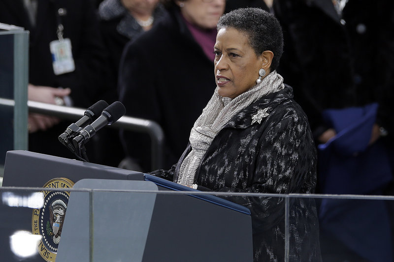 Myrlie Evers-Williams delivers the invocation at the ceremonial swearing-in for President Obama during the 57th Presidential Inauguration in Washington on Jan. 21.