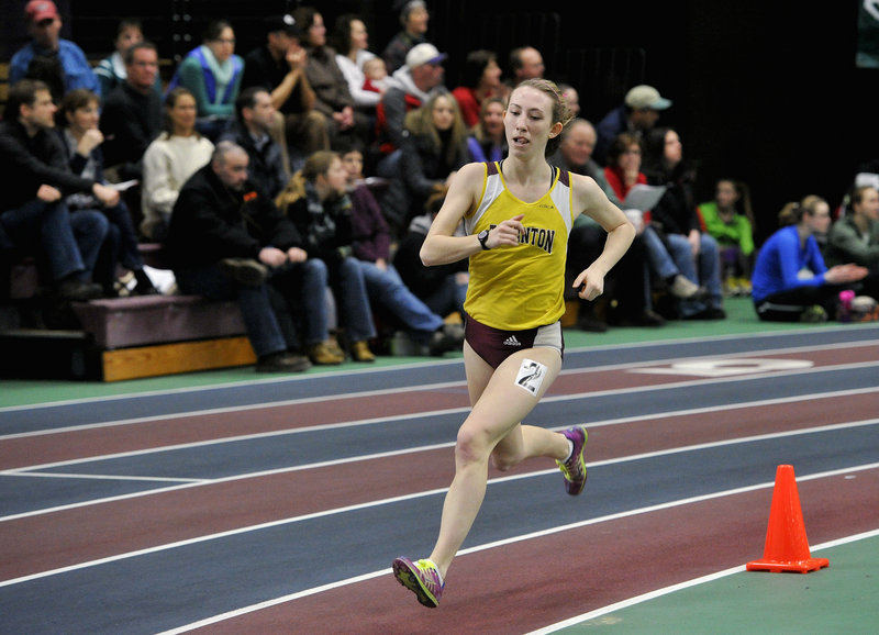 Charlotte Pierce of Thornton Academy ran a record time of 5 minutes, 7.49 seconds to capture the mile at the Southwesterns.