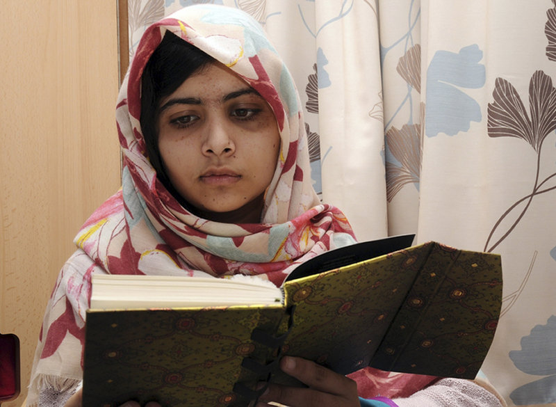 In this undated photo, Malala Yousufzai, 15, who was shot in the head Oct. 9 by a Taliban gunman in Pakistan, continues her recovery at a hospital in Birmingham, England. She had five hours of surgery Saturday.