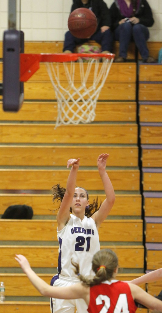 Alexis Stephenson of Deering gets free for a shot from the corner Monday night against visiting South Portland.