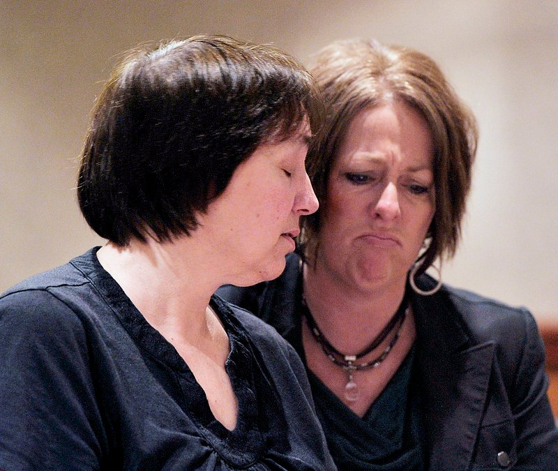 On Tuesday, Feb. 05, 2013, Patricia Gerber, left, mother of Renee Sandora, murder victim, breaks down as she speaks before Joel Hayden was sentenced to two concurrent life sentences for killing the mother of his four children, Renee Sandora and his best friend, Trevor Mills.