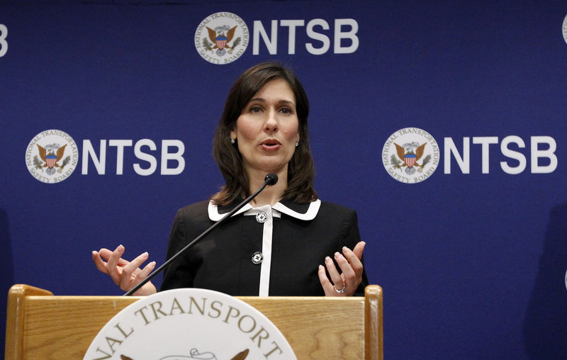 NTSB Chair Deborah Hersman speaks during a news conference in Washington on Thursday.