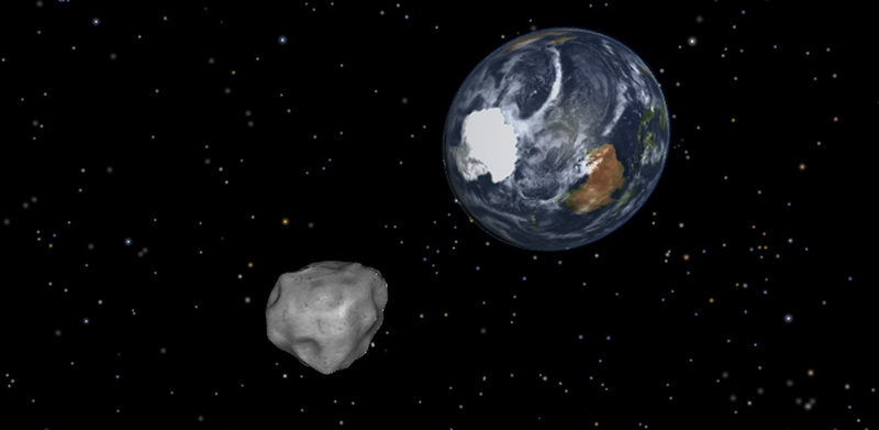 Image shows a simulation of asteroid 2012 DA14 approaching from the south as it passes through the Earth-moon system next Friday. The 150-foot object will pass within 17,100 miles of the Earth.