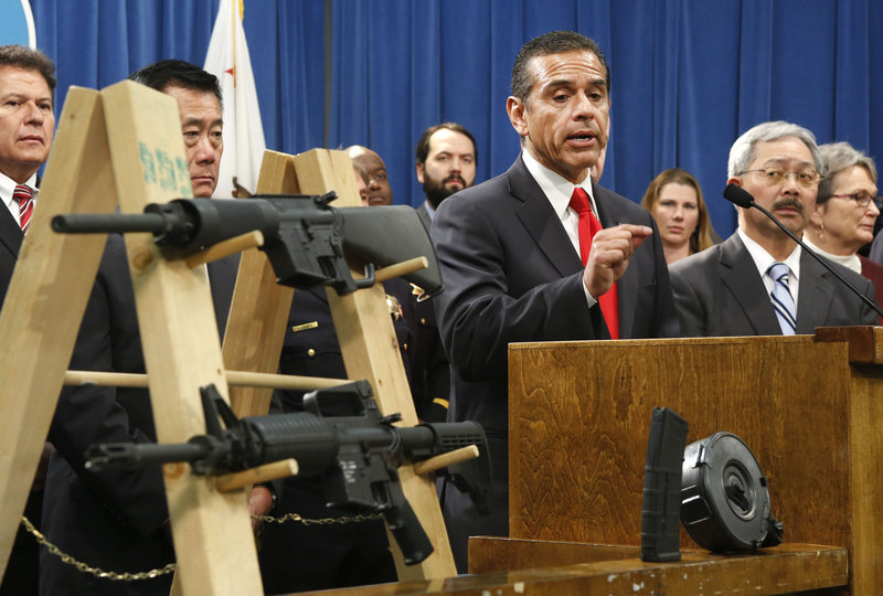 Los Angeles Mayor Antonio Villaraigosa, left, discusses his support for a package of proposed gun control legislation.