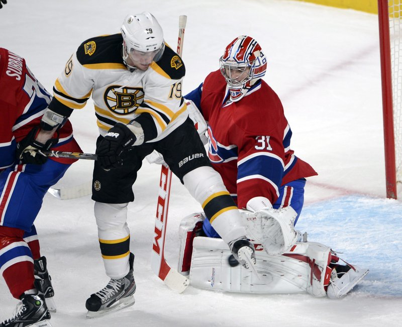Boston Bruin Tyler Seguin, center, was moved up to the Bruins' top line with David Krejci and Milan Lucic for the last period against Montreal on Wednesday. The change resulted in a 2-1 win, with a goal and an assist by Seguin.